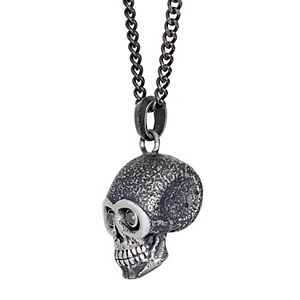 Men's LYNX 1/5 Carat T.W. Diamond Black Ion-Plated Stainless Steel Skull Pendant Necklace