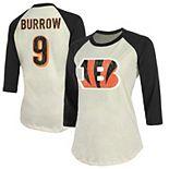 Women's Majestic Threads Joe Burrow Cream/Black Cincinnati Bengals Vintage Inspired 3/4 Sleeve Name & Number T-Shirt