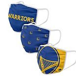FOCO Golden State Warriors Face Covering (Size Small) 3-Pack