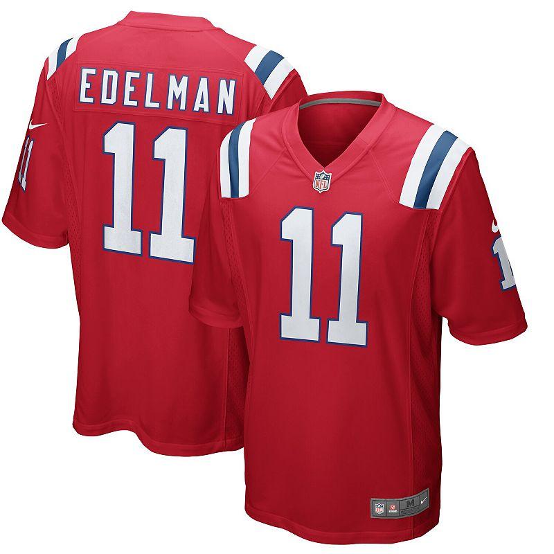 Men's Nike Julian Edelman Red New England Patriots Alternate Game Jersey, Size: 3XL