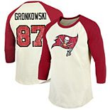 Men's Majestic Threads Rob Gronkowski Cream/Red Tampa Bay Buccaneers Vintage Inspired 3/4 Sleeve Name & Number T-Shirt