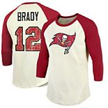 Men's Majestic Threads Tom Brady Cream/Red Tampa Bay Buccaneers Vintage Inspired Name & Number Raglan 3/4-Sleeve T-Shirt