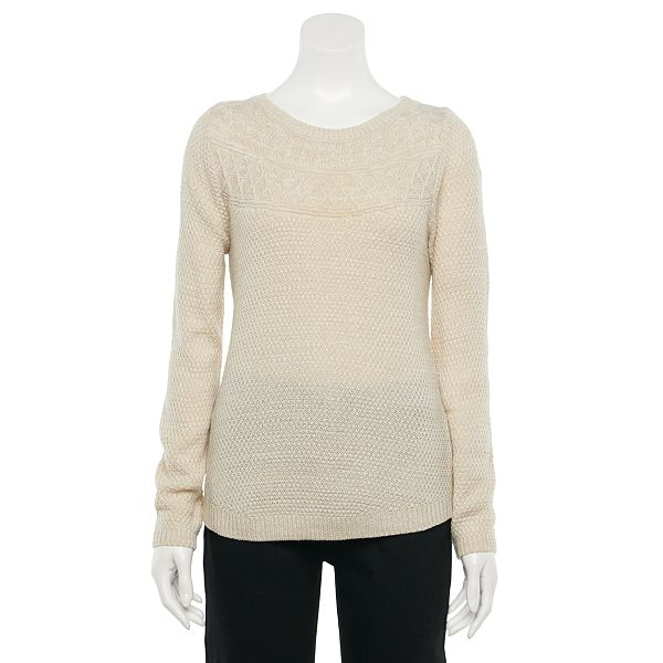 Women's Croft & Barrow® Cable-Knit Yoke Boatneck ... Sweater