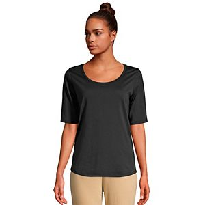 Petite Lands' End Elbow-Sleeve Supima Cotton Scoopneck Tee
