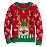 Girls 7-16 It's Our Time Christmas Reindeer Sweater