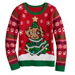 Girls 7-16 It's Our Time Christmas Puppy Sweater
