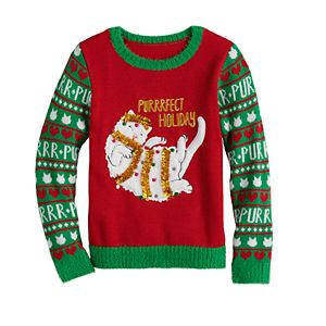 Girls 7-16 It's Our Time Purrrfect Holiday Sweater