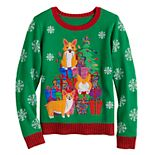 Girls 7-16 It's Our Time Corgi Christmas Sweater