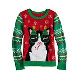 Girls 7-16 It's Our Time Christmas Cat Sweater