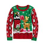 Girls 7-16 It's Our Time Christmas Penguin Sweater