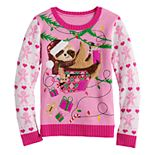 Girls 7-16 It's Our Time Christmas Sloth Sweater