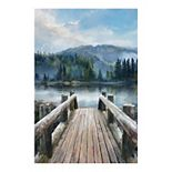 East Coast Graphic Mountain Lake Canvas Wall Art