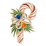 Dana Buchman® Gold Tone & Simulated Crystal Candy Cane Pin