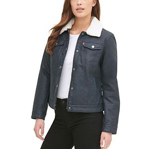 Women's Levi's® Classic Faux Leather Trucker Jacket with Sherpa Lining
