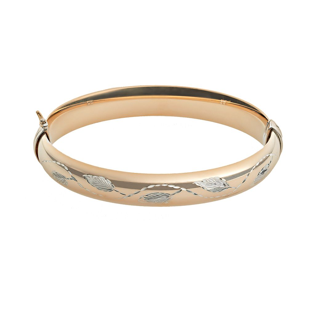 10k Gold & Sterling Silver Leaf Bangle Bracelet