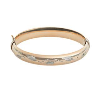 10k Gold and Sterling Silver Leaf Bangle Bracelet
