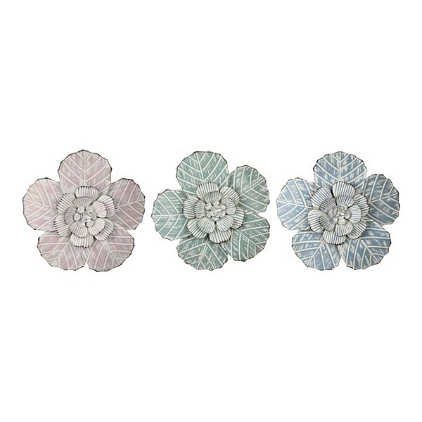 Stratton Home Decor 3 Pack Charming Flowers Metal Wall Decor