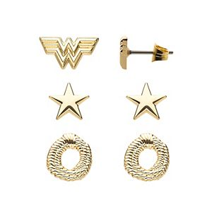 DC Comics Wonder Woman 1984 Gold Tone Stainless Steel Stud Earring Pack