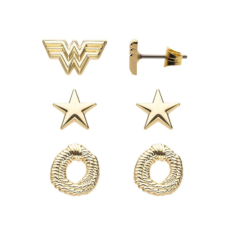 DC Comics Wonder Woman 1984 Gold Tone Stainless Steel Stud Earring Pack, Women's