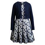 Girls 4-6x Youngland 2-Piece Woven Dress with Knit Cardigan Set
