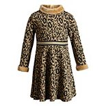 Girls 4-6x Youngland 2-Piece Belted Brushed Knit Leopard Print Dress with Faux Fur