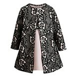 Girls 4-6x Youngland 2-Piece Floral Bodice Dress & Allover Flocked Coat Set