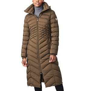 Women's B by Bernardo Ecoplume Hooded Maxi Puffer Coat