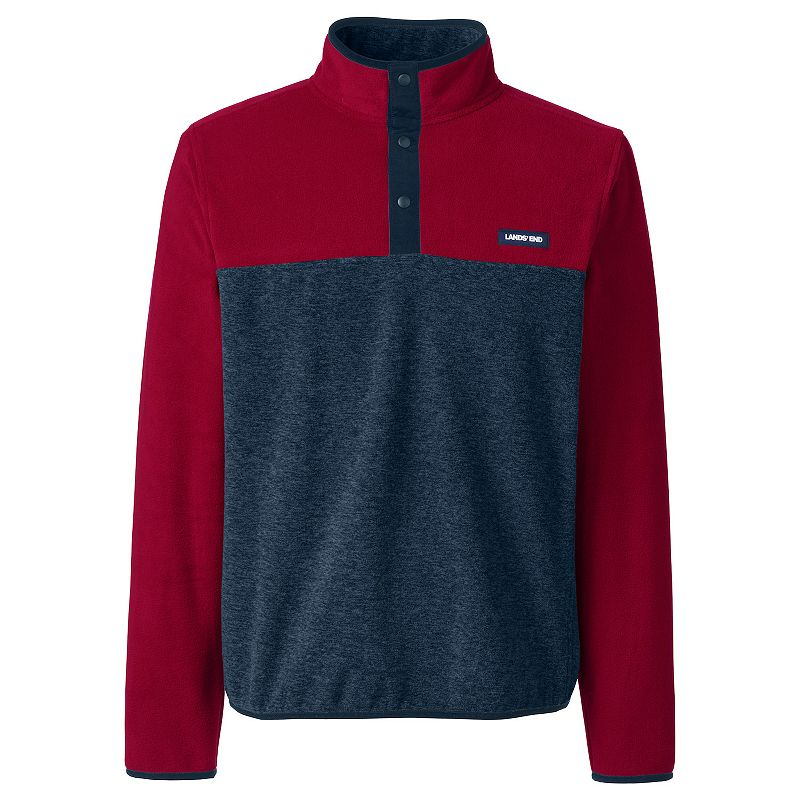 Men's Lands' End Colorblock Fleece Snap-Collar Pullover Jacket, Size: XXL, Red
