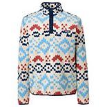 Big & Tall Lands' End Patterned Fleece Snap-Neck Pullover Jacket