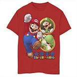 Boys 8-20 Super Mario Luigi Yoshi & Mario Portraits Graphic Tee