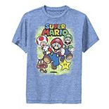 Boys 8-20 Super Mario Group Shot Running Grid Portrait Graphic Tee