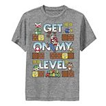 Boys 8-20 Nintendo Super Mario Get On My Level Game Play Poster Graphic Tee