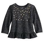 Baby Girl Jumping Beans® Cozy Knit Peplum Tee