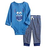 Disney / Pixar Monsters, Inc. Sully Baby Girl 2-Piece Raglan Bodysuit & Pants Set by Jumping Beans®