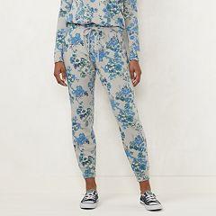 Petite LC Lauren Conrad Floral High-Rise Jogger Pants