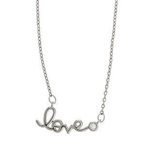 "Juilliet Fine Silver Plated ""Love"" Pendant Necklace"