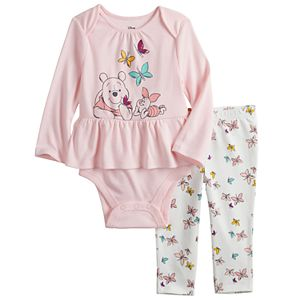 Disney's Winnie The Pooh Baby Girl 2-Piece Peplum Bodysuit & Leggings Set by Jumping Beans®