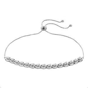 Sterling Silver 1/4 Carat T.W. Diamond Bolo Tennis Bracelet