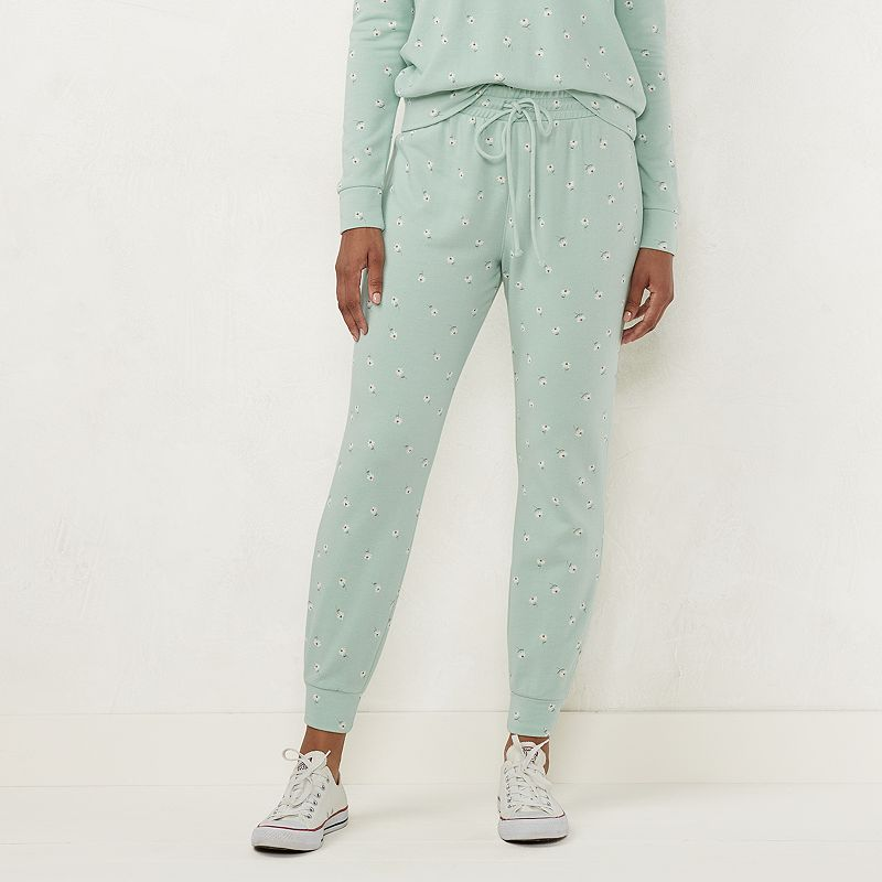 Women's LC Lauren Conrad Smocked-Cuff High-Waisted Jogger Sweatpants. Size: XS. Med Green