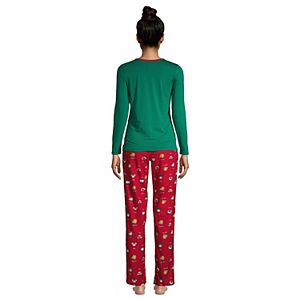 Women's Lands' End Knit Long Sleeve Pajama Top and Pajama Flannel Pants Set