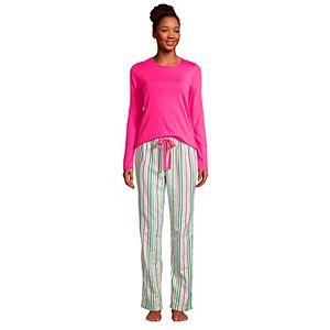 Petite Lands' End Knit Long Sleeve Pajama Top and Pajama Flannel Pants Set