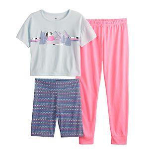 Girls 6-14 SO® Tee, Bike Shorts & Jogger Pants Pajama Set