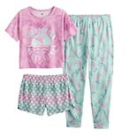 Girls 6-18 SO® Tee, Shorts & Jogger Pants Pajama Set in Regular & Plus Size