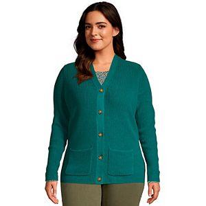 Plus Size Lands' End Cotton Cable Drifter Cardigan Sweater