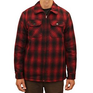 Men's Mountain and Isles Outdoorsman Plaid Sherpa-Lined Wool-Blend Jacket