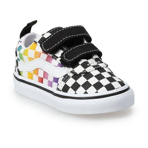 Vans® Ward V Kids' Rainbow Checkered Skate Shoes