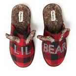 "Kids' Dearfoams ""Lil Bear"" Buffalo Check Scuff Slippers"