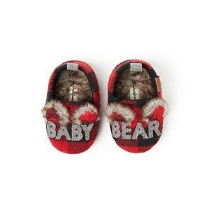 """Baby Dearfoams """"Baby Bear"""" Buffalo Check Closed Back Slippers"""