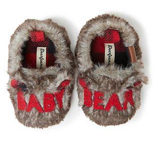 """Baby Dearfoams """"Baby Bear"""" Faux Fur Closed Back Slippers"""
