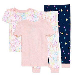 Toddler Girl Loony Tunes Tweety Bird 4 Piece Pajama Set